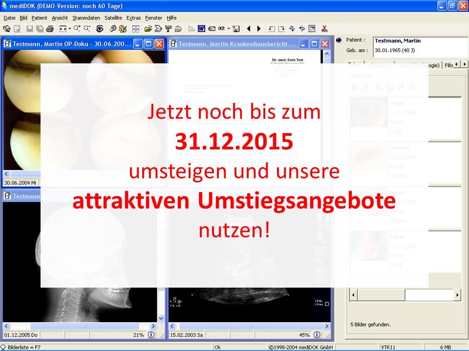 Umstieg mediDOK 1.8 - Nur noch bis 31.12.2015