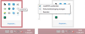 Die Funktionen, die über das Icon aufgerufen werden können.